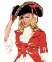 Goedkoop luxe piraten hoed rode strikken carnavalskleding