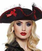 Goedkoop musketiershoed zwart rood dames carnavalskleding