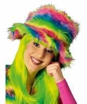 Goedkoop neon kleurige bonte hoed carnavalskleding