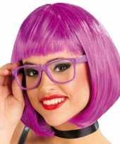 Goedkoop paarse halflange pruik carnavalskleding