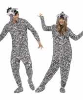Goedkoop pyamacarnavalskleding zebra dames heren
