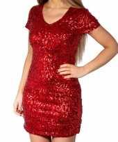 Goedkoop rode glitter pailletten disco jurkje dames carnavalskleding