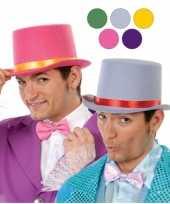 Goedkoop rode hoge hoed volwassenen vilt carnavalskleding