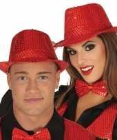 Goedkoop rode pailletten hoedje volwassenen carnavalskleding