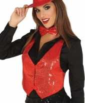 Goedkoop rood gilet glitters pailletten dames carnavalskleding
