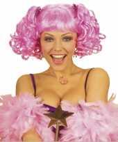 Goedkoop roze damespruik pony twee staarten carnavalskleding