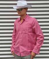 Goedkoop roze geruit cowboy overhemd heren carnavalskleding