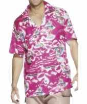 Goedkoop roze overhemd hawaii print carnavalskleding