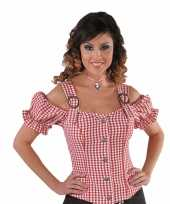 Goedkoop sexy cowgirl blouse rood off shoulder carnavalskleding