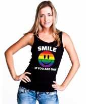 Goedkoop smile if you are gay emoticon tanktop singlet-shirt zwart dames carnavalskleding