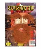 Goedkoop snor baard wenkbrouwen set rood carnavalskleding