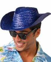 Goedkoop strohoed blauw toppers volwassenen carnavalskleding