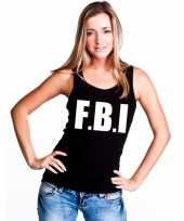 Goedkoop tanktop fbi dames zwart carnavalskleding
