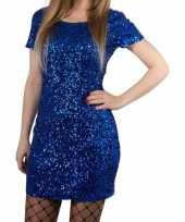 Goedkoop toppers blauwe glitter pailletten disco jurkje one size dames carnavalskleding