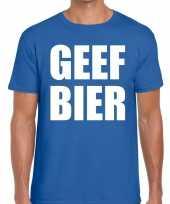 Goedkoop toppers geef bier heren t-shirt blauw carnavalskleding