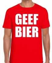 Goedkoop toppers geef bier heren t-shirt rood carnavalskleding