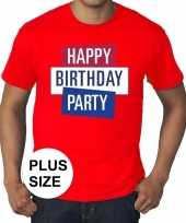 Goedkoop toppers grote maten rood toppers happy birthday party t-shirt officieel carnavalskleding