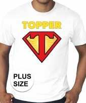 Goedkoop toppers grote maten super topper logo t-shirt wit heren carnavalskleding