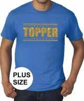 Goedkoop toppers grote maten topper shirt blauw gouden glitters heren carnavalskleding