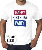 Goedkoop toppers grote maten wit toppers happy birthday party t-shirt officieel carnavalskleding