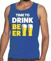 Goedkoop toppers time to drink beer tekst tanktop mouwloos shirt blauw carnavalskleding