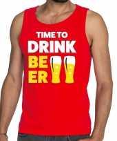 Goedkoop toppers time to drink beer tekst tanktop mouwloos shirt rood carnavalskleding