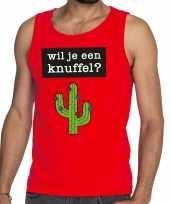 Goedkoop toppers wil je een knuffel tekst tanktop mouwloos shirt rood carnavalskleding