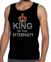 Goedkoop toppers zwart toppers king of the afterparty glitter tanktop shirt heren carnavalskleding