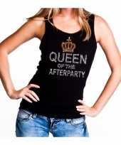 Goedkoop toppers zwart toppers queen of the afterparty glitter tanktop dames carnavalskleding