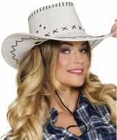 Goedkoop verkleed cowboyhoeden elroy wit lederlook carnavalskleding