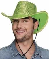Goedkoop verkleed grote cowboyhoeden lime groen pailletten carnavalskleding
