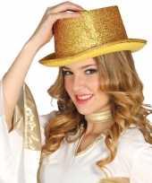 Goedkoop verkleed hoge hoed gouden glitters carnavalskleding