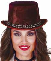 Goedkoop verkleed hoge hoed rood steentjes carnavalskleding