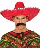 Goedkoop verkleed sombrero rood mexico volwassenen carnavalskleding 10148184