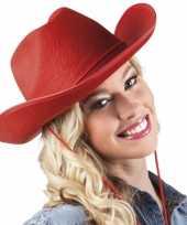 Goedkoop vilten cowboyhoed rood carnavalskleding