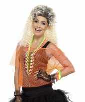 Goedkoop visnet verkleed top neon oranje carnavalskleding