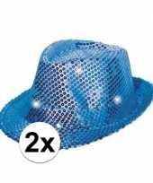 Goedkoop x blauwe glitter hoedjes led licht carnavalskleding