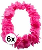 Goedkoop x bloemenkrans ketting roze carnavalskleding 10107854