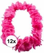 Goedkoop x bloemenkrans ketting roze carnavalskleding 10107856