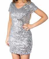 Goedkoop zilveren glitter pailletten disco jurkje dames carnavalskleding
