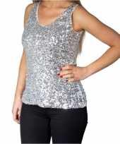 Goedkoop zilveren glitter pailletten disco topje mouwloos shirt dames carnavalskleding