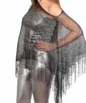 Goedkoop zilveren visnet poncho omslagdoek stola dames carnavalskleding
