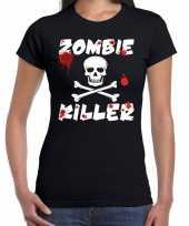 Goedkoop zombie killer halloween t-shirt zwart dames carnavalskleding