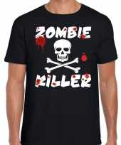 Goedkoop zombie killer halloween t-shirt zwart heren carnavalskleding