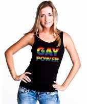 Goedkoop zwart gay power tanktop dames carnavalskleding