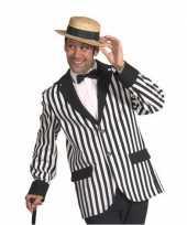 Goedkoop zwart wit gestreept heren jasje carnavalskleding