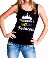 Goedkoop zwart you know i am a fucking princess tanktop dames carnavalskleding