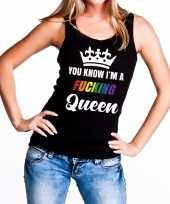 Goedkoop zwart you know i am a fucking queen tanktop dames carnavalskleding