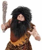 Goedkoop zwarte baard snor holbewoner carnavalskleding