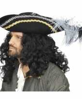 Goedkoop zwarte piraten hoed luxe veren carnavalskleding